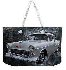 Weekender Tote Bag featuring the digital art 55 Chevy by Chris Thomas