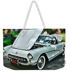 Weekender Tote Bag featuring the photograph '56 Corvette by Victor Montgomery