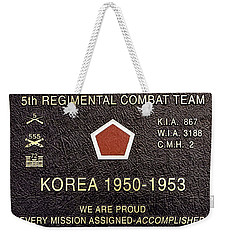 5th Regimental Combat Team Arlington Cemetary Memorial Weekender Tote Bag
