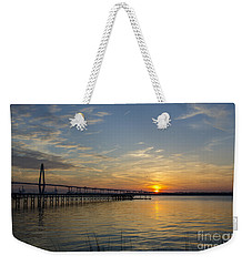 Weekender Tote Bag featuring the photograph Arthur Ravenel Bridge Tranquil Sunset by Dale Powell