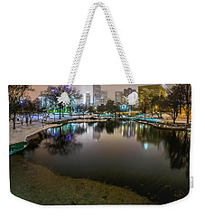 Charlotte Nc Skyline Covered In Snow In January 2014 Weekender Tote Bag by Alex Grichenko