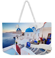 Oia Town On Santorini Greece Weekender Tote Bag