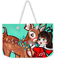 Weekender Tote Bag featuring the painting Art Deco by Nora Shepley
