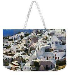Oia Town Weekender Tote Bag