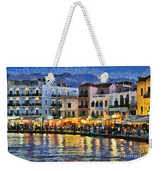 Painting Of The Old Port Of Chania Weekender Tote Bag