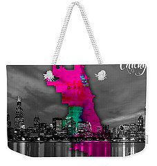 Chicago Map And Skyline Watercolor Weekender Tote Bag