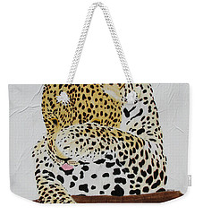 Weekender Tote Bag featuring the painting 97.. 95..99....100  Ready Or Not by Stephanie Grant