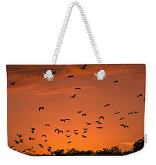 Birds At Sunset Weekender Tote Bag