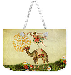 Weekender Tote Bag featuring the digital art A Ballerina And Her Camel by Peggy Collins