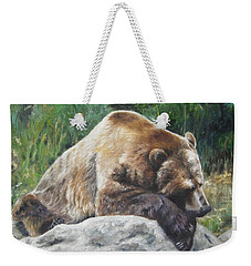 Weekender Tote Bag featuring the painting A Bear Of A Prayer by Lori Brackett