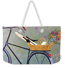 A Bicycle Break Weekender Tote Bag by Brenda Brown