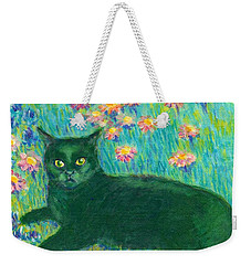 Weekender Tote Bag featuring the painting A Black Cat On Floral Mat by Jingfen Hwu