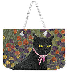 A Black Cat On Oyster Mat Weekender Tote Bag