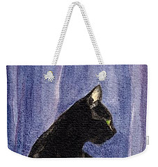 Weekender Tote Bag featuring the painting A Black Cat's Sexy Pose by Jingfen Hwu