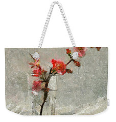 Weekender Tote Bag featuring the painting A Branch Of Japonica by Dragica  Micki Fortuna