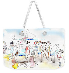 Weekender Tote Bag featuring the painting A Busy Day At The Beach by Carolyn Weltman