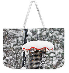 A Cardinal Winter Weekender Tote Bag by Lydia Holly