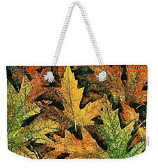 Weekender Tote Bag featuring the painting A Carpet Of  Falling Leaves by Dragica  Micki Fortuna