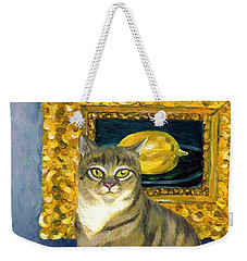 Weekender Tote Bag featuring the painting A Cat And Eduard Manet's The Lemon by Jingfen Hwu