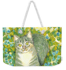 A Cat And Flowers Weekender Tote Bag