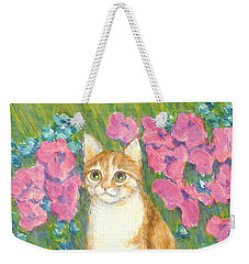 Weekender Tote Bag featuring the painting A Cat And Meadow Flowers by Jingfen Hwu