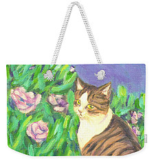 Weekender Tote Bag featuring the painting A Cat At A Garden by Jingfen Hwu