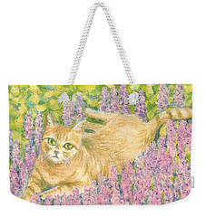 Weekender Tote Bag featuring the painting A Cat Lying On Floral Mat by Jingfen Hwu