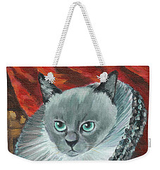 Weekender Tote Bag featuring the painting A Cat Of Peter Paul Rubens Style by Jingfen Hwu