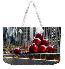 A Christmas Card From New York City - Radio City Music Hall And The Giant Red Balls Weekender Tote Bag