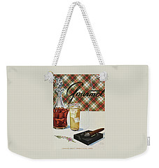 A Cigar In An Ashtray Beside A Drink And Decanter Weekender Tote Bag