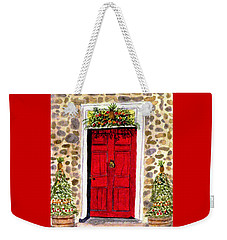 Weekender Tote Bag featuring the painting A Colonial Christmas At The Dobbin House Gettysburg by Angela Davies