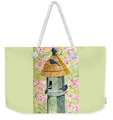 Weekender Tote Bag featuring the painting A Cottage For Two by Angela Davies