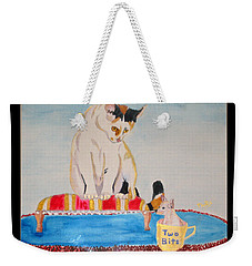 Weekender Tote Bag featuring the painting A Cup Of Chihuahua by Phyllis Kaltenbach