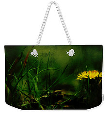 Weekender Tote Bag featuring the photograph A Darkness Befalls The Dandelion by Rebecca Sherman
