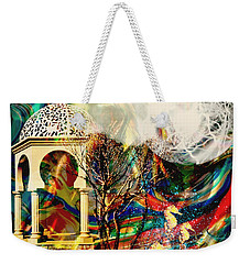 Weekender Tote Bag featuring the mixed media A Day In The Park by Ally  White
