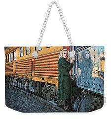 Weekender Tote Bag featuring the drawing A Departure by Meg Shearer