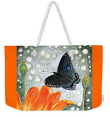 Weekender Tote Bag featuring the painting A Garden Visitor by Angela Davies