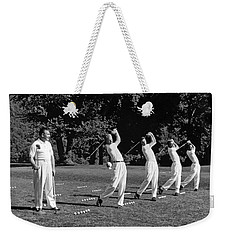 A Golf Driving Demonstration. Weekender Tote Bag