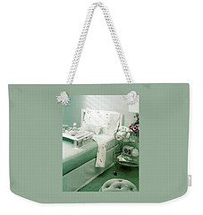 A Green Bedroom With A Breakfast Tray On The Bed Weekender Tote Bag