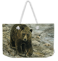A Grey And Grizzly Day Weekender Tote Bag by Sandra LaFaut