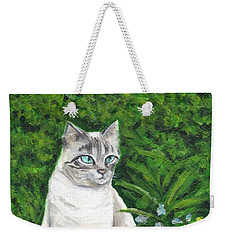 A Grey Cat At A Garden Weekender Tote Bag