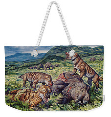 A Group Of Carnivorous Cynognathus Prey Weekender Tote Bag