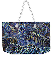 Weekender Tote Bag featuring the painting A Group Of Zebras by Xueling Zou