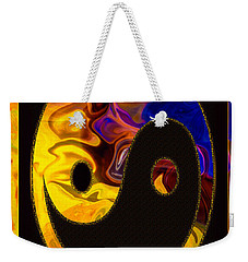 Weekender Tote Bag featuring the digital art A Happy Balance Of Energies Abstract Healing Art by Omaste Witkowski