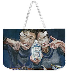 Weekender Tote Bag featuring the painting A Happy Birthday by Anna Ruzsan