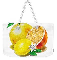 Weekender Tote Bag featuring the painting A Happy Citrus Bunch Grapefruit Lemon Orange by Irina Sztukowski