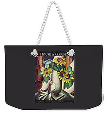 A House And Garden Cover Of Flowers And A Dove Weekender Tote Bag