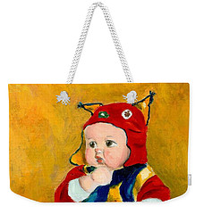 Weekender Tote Bag featuring the painting A Kid Wearing Two Cultural Traditions by Jingfen Hwu