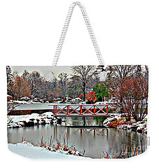 Weekender Tote Bag featuring the photograph A Light Dusting Of Snow by Judy Palkimas