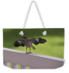 A Little Visitor Northern Mockingbird Weekender Tote Bag by Terry DeLuco